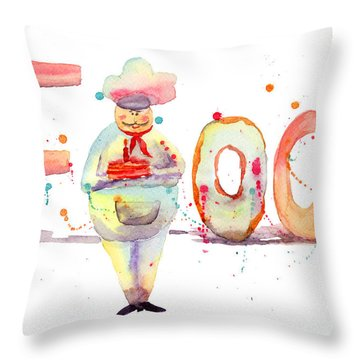 Watercolor Illustration Of Inscription Food With Chef  Throw Pillow by Regina Jershova