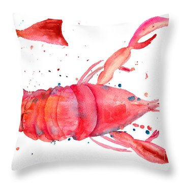 Watercolor Illustration Of Lobster Throw Pillow