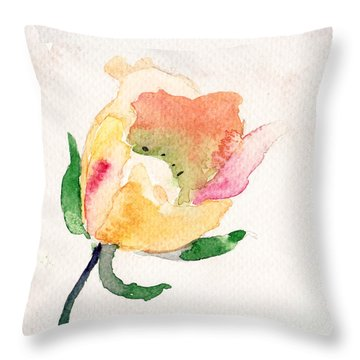 Watercolor Illustration With Beautiful Flower  Throw Pillow