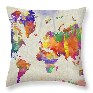 Watercolor Impression World Map Throw Pillow by Zaira Dzhaubaeva