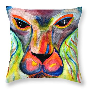 Watercolor Lion Throw Pillow