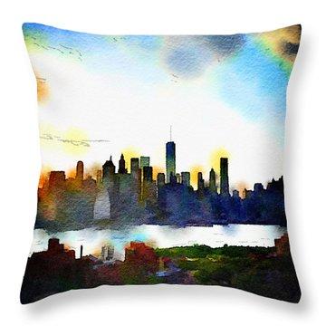 Watercolor Manhattan Throw Pillow