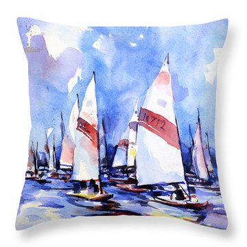 Watercolor Of Scow Boats Racing Torch Lake Mi Throw Pillow