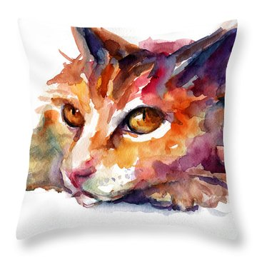 Watercolor Orange Tubby Cat Throw Pillow