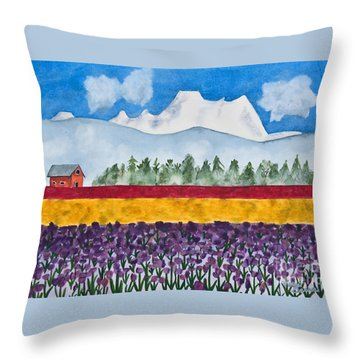 Watercolor Painting Landscape Of Skagit Valley Tulip Fields Art Throw Pillow