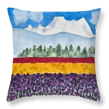 Watercolor Painting Landscape Of Skagit Valley Tulip Fields Art Throw Pillow by Valerie Garner