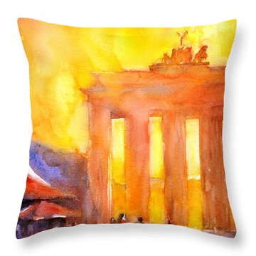Watercolor Painting Of Brandenburg Gate Berlin Germany Throw Pillow by Ryan Fox