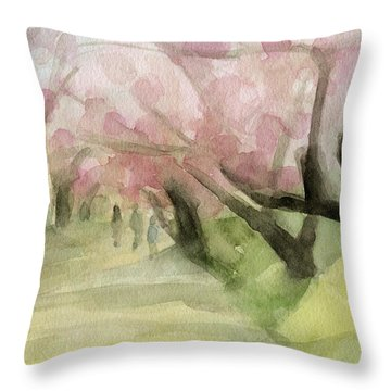Watercolor Painting Of Cherry Blossom Trees In Central Park Nyc Throw Pillow by Beverly Brown