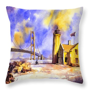 Watercolor Painting Of Ligthouse On Mackinaw Island- Michigan Throw Pillow