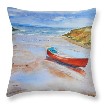 Watercolor Painting Of Red Boat Throw Pillow
