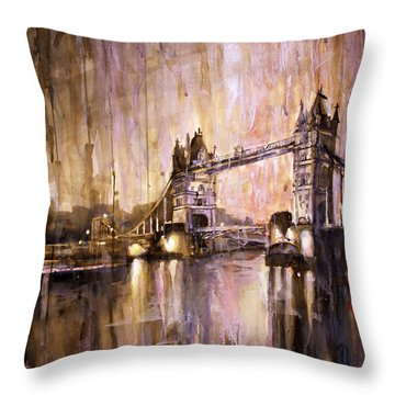 Watercolor Painting Of Tower Bridge London England Throw Pillow by Ryan Fox