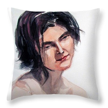 Watercolor Portrait Of A Young Pensive Woman With Headband Throw Pillow