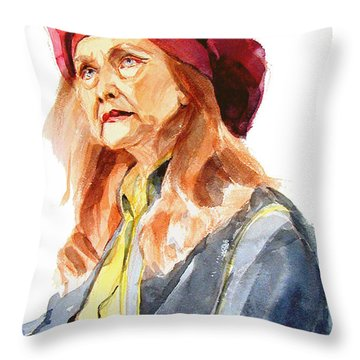 Watercolor Portrait Of An Old Lady Throw Pillow