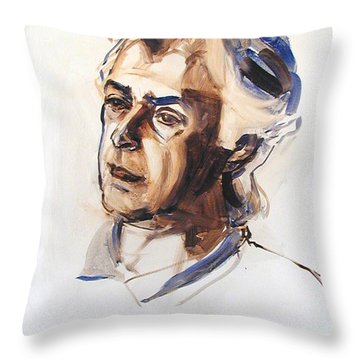 Watercolor Portrait Sketch Of A Man In Monochrome Throw Pillow