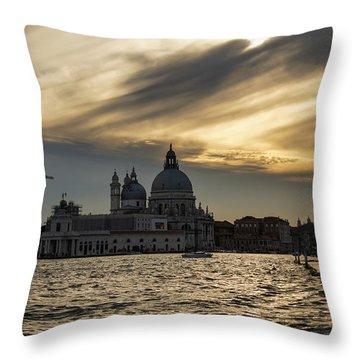 Throw Pillow featuring the photograph Watercolor Sky Over Venice Italy by Georgia Mizuleva