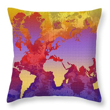 Watercolor Splashes World Map On Canvas Throw Pillow by Zaira Dzhaubaeva