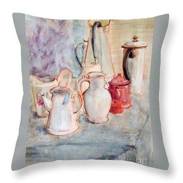 Watercolor Still Life With Red Can Throw Pillow