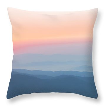 Watercolor Sunrise In The Blue Ridge Mountains Throw Pillow