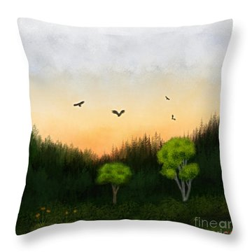 Watercolor Sunset 2 Throw Pillow by Thomas OGrady