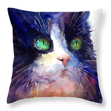 Watercolor Tuxedo Tubby Cat Throw Pillow