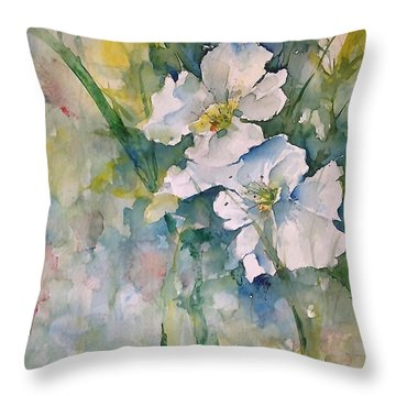 Watercolor Wild Flowers Throw Pillow