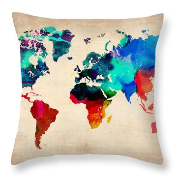 Watercolor World Map 3 Throw Pillow by Naxart Studio