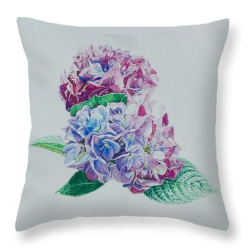 Watercolored Hydrangea Throw Pillow