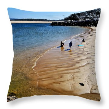 Watercolors At The Beach Throw Pillow by Kaye Menner