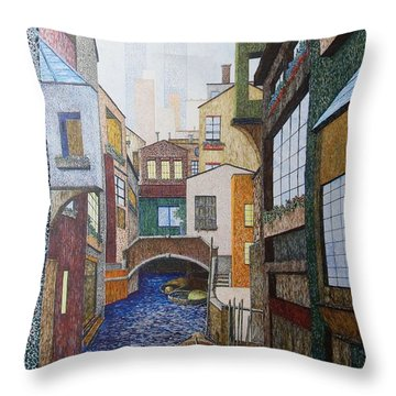 Throw Pillow featuring the painting Watered World by A  Robert Malcom