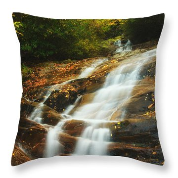 Waterfall @ Sams Branch Throw Pillow by Photography  By Sai