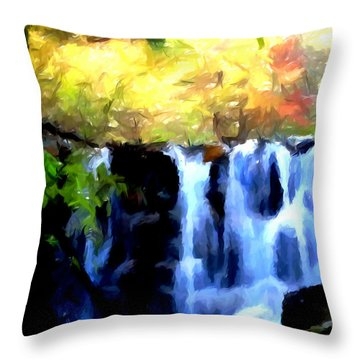Waterfall 1 Throw Pillow by Lanjee Chee
