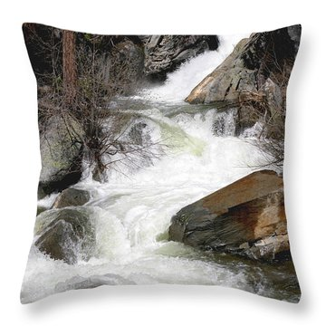 Waterfall Along The Rubicon Trail - Lake Tahoe Throw Pillow by Patricia Sanders