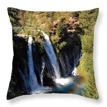Throw Pillow featuring the photograph Waterfall And Rainbow by Debra Thompson