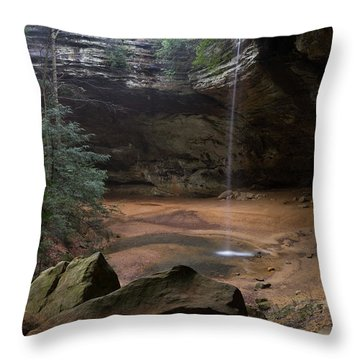 Waterfall At Ash Cave Throw Pillow