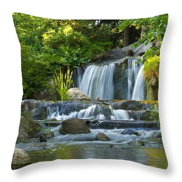 Waterfall At Lake Katherine 2 Throw Pillow