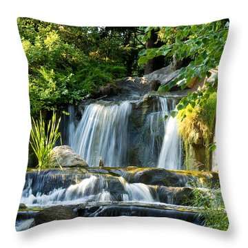 Waterfall At Lake Katherine Throw Pillow