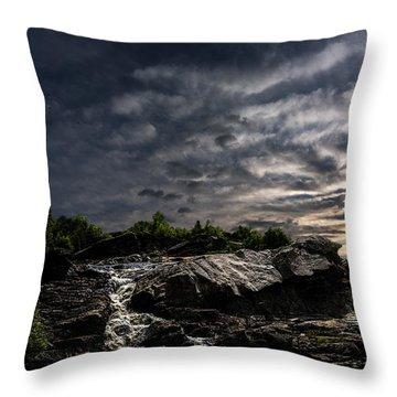Waterfall At Sunrise Throw Pillow by Bob Orsillo
