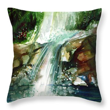 Throw Pillow featuring the painting Waterfall Expression by Allison Ashton