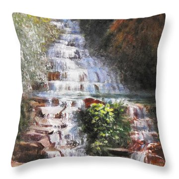 Waterfall Garden Throw Pillow