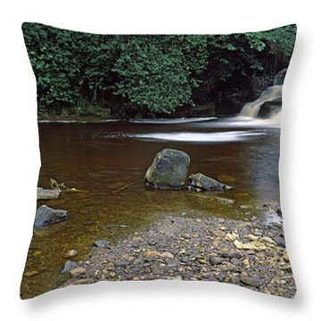 Waterfall In A Forest, Cheviot Hills Throw Pillow