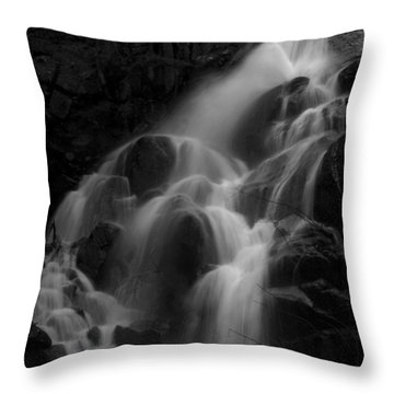 Waterfall In Black And White Throw Pillow by Bill Gallagher