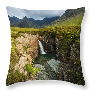 Waterfall In Coire Na Creiche The Fairy Throw Pillow