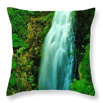 Waterfall In Hood River Oregon Throw Pillow by Jeff Swan