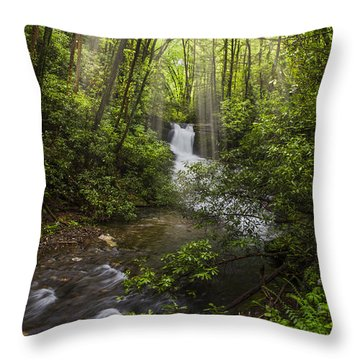 Waterfall In The Forest Throw Pillow by Debra and Dave Vanderlaan