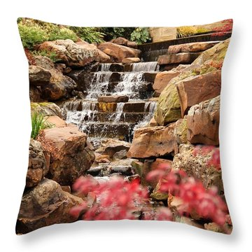 Throw Pillow featuring the photograph Waterfall In The Garden by Elizabeth Budd