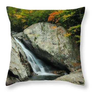 Waterfall In West Fork Of Pigeon River Throw Pillow