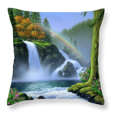 Waterfall Throw Pillow by Jerry LoFaro