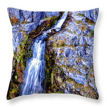 Waterfall-mt Timpanogos Throw Pillow