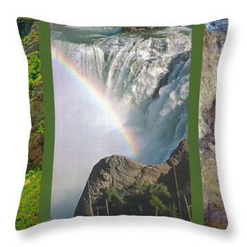 Waterfall Triptych Throw Pillow by Steve Ohlsen