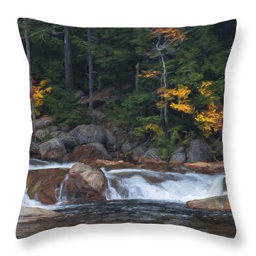 Waterfall - White Mountains - New Hampshire Throw Pillow